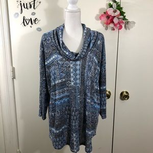 ABSOLUTELY FAMOUS COWL NECK TOP NAVAJO PRINT 2X